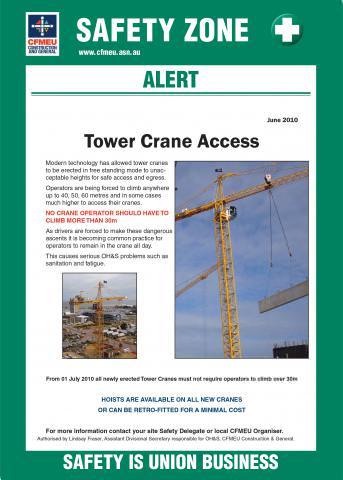 Tower crane access | CFMEU Victoria & Tasmania