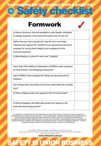 Formwork Safety Checklist Cfmeu Victoria Amp Tasmania